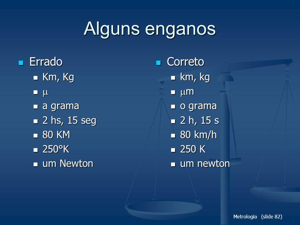 Metrologia (slide 82) Alguns enganos Errado Errado Km, Kg Km, Kg a grama a grama 2 hs, 15 seg 2 hs, 15 seg 80 KM 80 KM 250°K 250°K um Newton um Newton Correto Correto km, kg km, kg m m o grama o grama 2 h, 15 s 2 h, 15 s 80 km/h 80 km/h 250 K 250 K um newton um newton