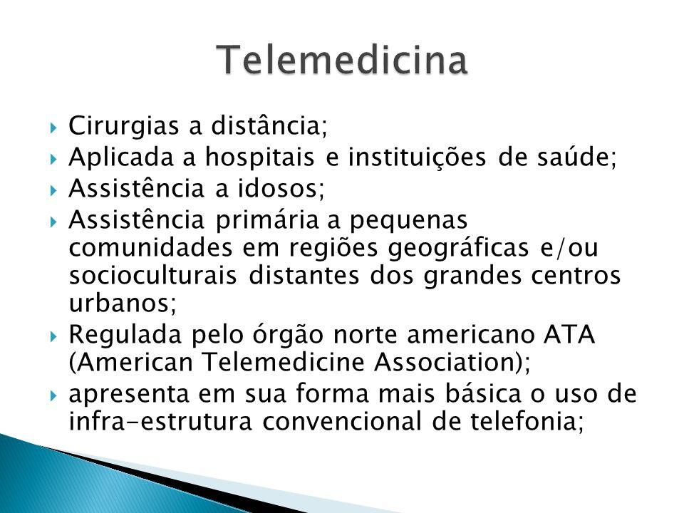 Cirurgias a distância; Aplicada a hospitais e instituições de saúde; Assistência a idosos; Assistência primária a pequenas comunidades em regiões geog