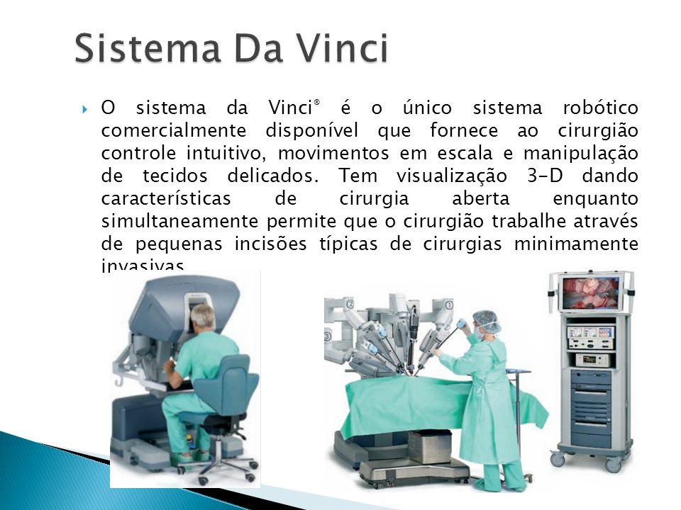 O sistema da Vinci ® é o único sistema robótico comercialmente disponível que fornece ao cirurgião controle intuitivo, movimentos em escala e manipula