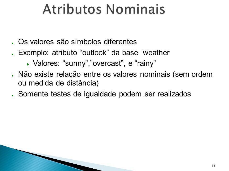 16 Atributos Nominais Os valores são símbolos diferentes Exemplo: atributo outlook da base weather Valores: sunny,overcast, e rainy Não existe relação