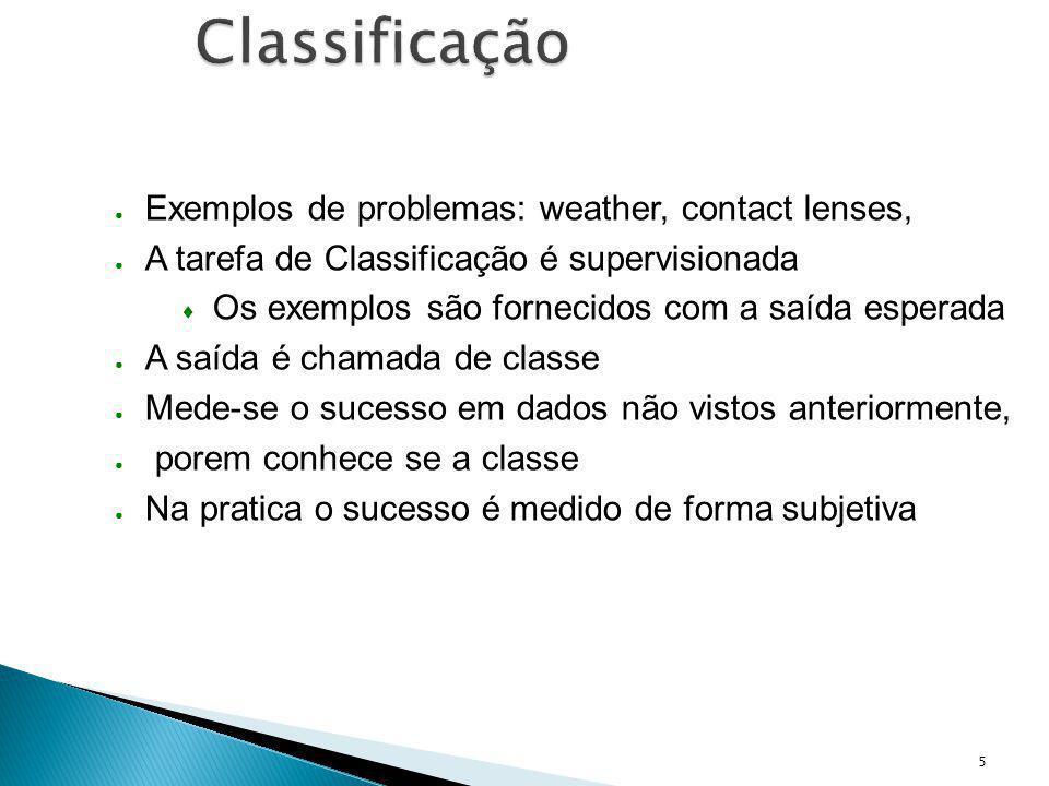 5 Classificação Exemplos de problemas: weather, contact lenses, A tarefa de Classificação é supervisionada Os exemplos são fornecidos com a saída espe