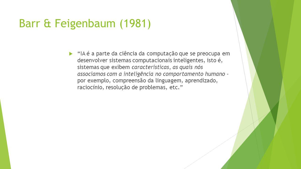 Barr & Feigenbaum (1981) IA é a parte da ciência da computação que se preocupa em desenvolver sistemas computacionais inteligentes, isto é, sistemas q