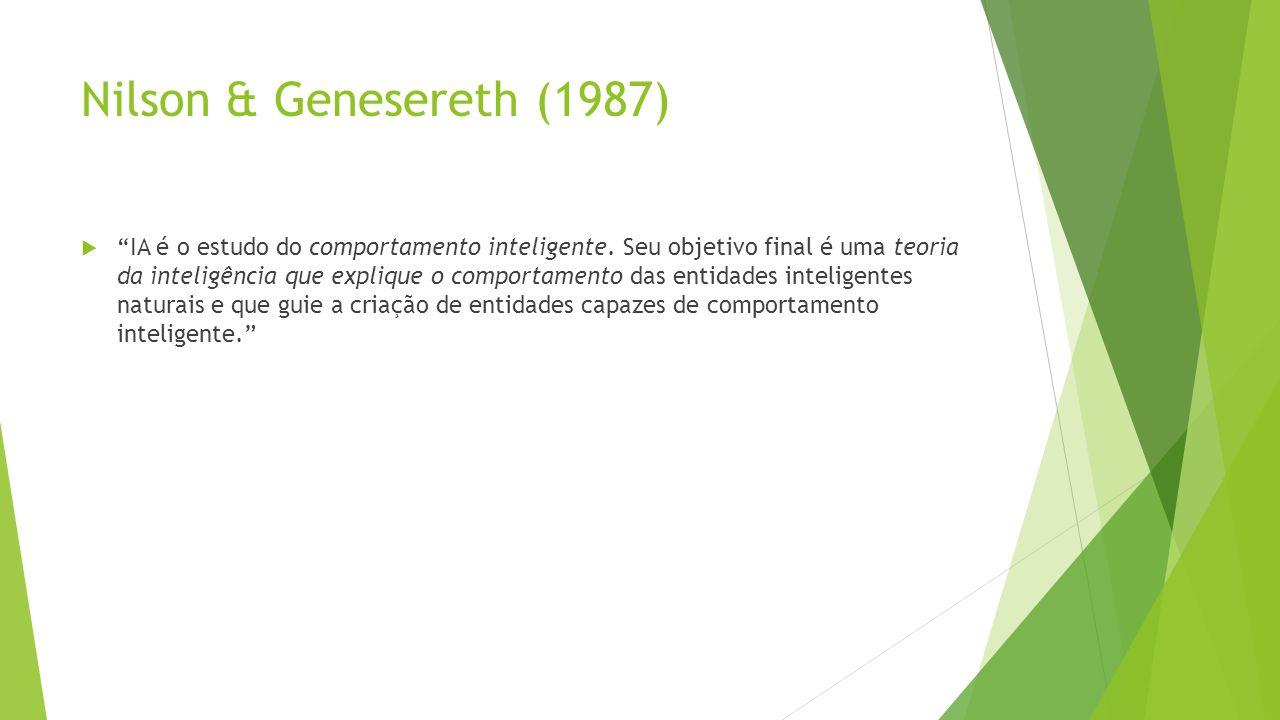 Nilson & Genesereth (1987) IA é o estudo do comportamento inteligente. Seu objetivo final é uma teoria da inteligência que explique o comportamento da
