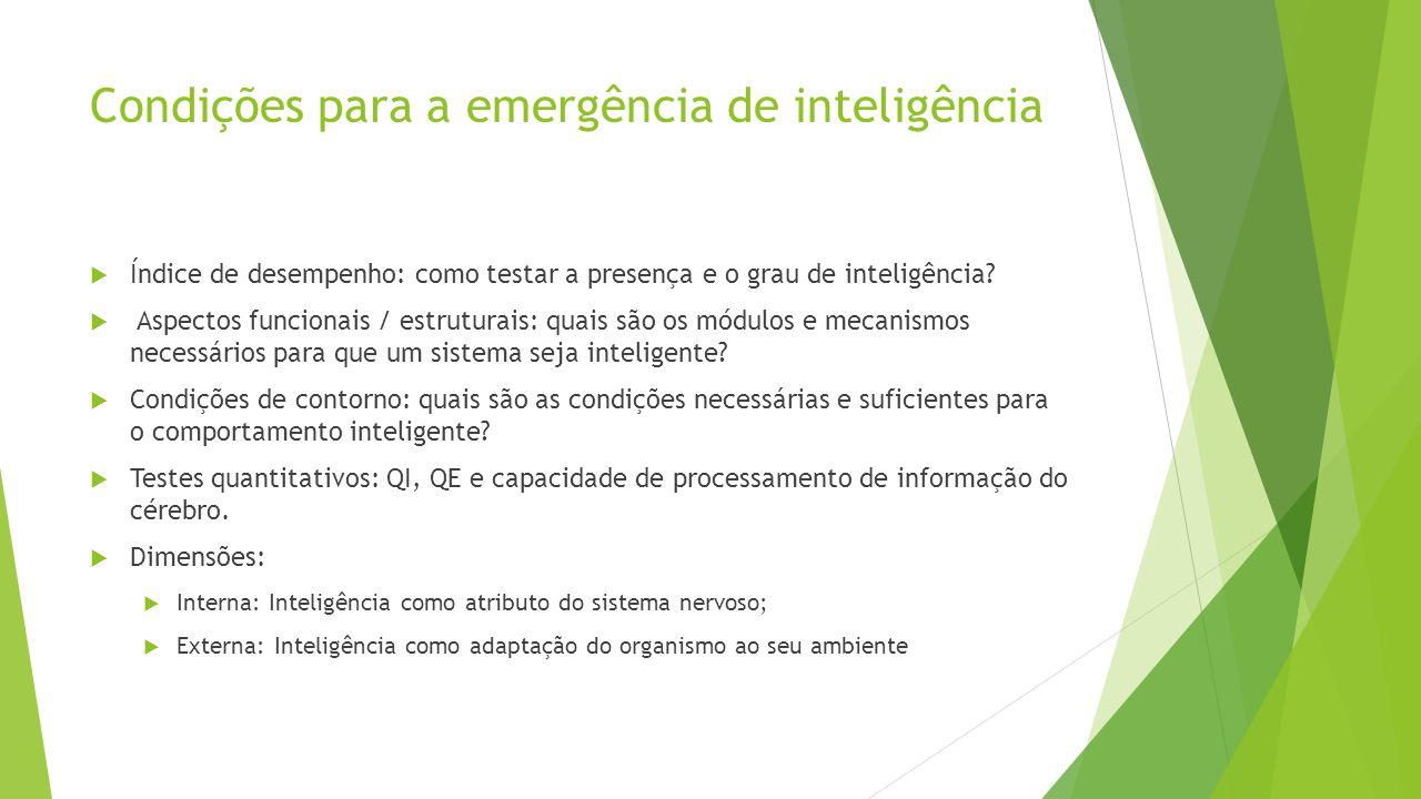 Condições para a emergência de inteligência Índice de desempenho: como testar a presença e o grau de inteligência? Aspectos funcionais / estruturais: