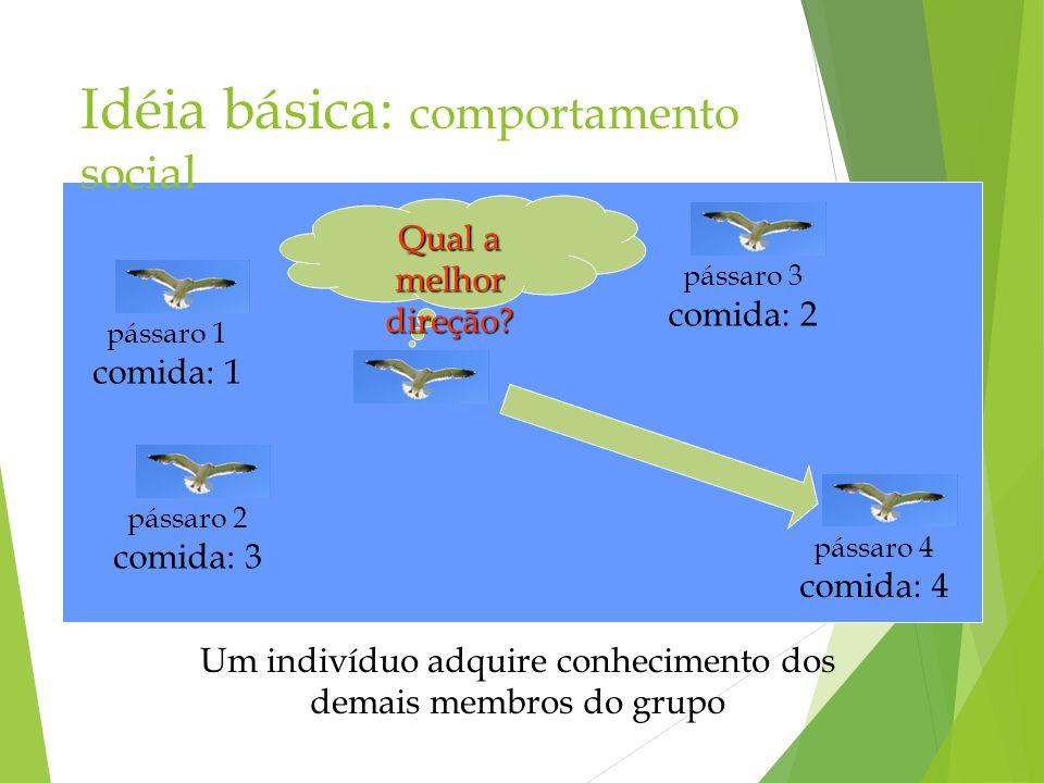 Idéia básica: comportamento social Um indivíduo adquire conhecimento dos demais membros do grupo Qual a melhor direção? pássaro 1 comida: 1 pássaro 2