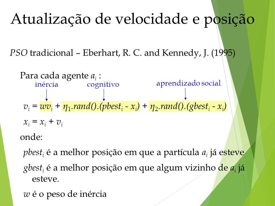 aprendizado social PSO tradicional – Eberhart, R. C. and Kennedy, J. (1995) Atualização de velocidade e posição inérciacognitivo Para cada agente a i