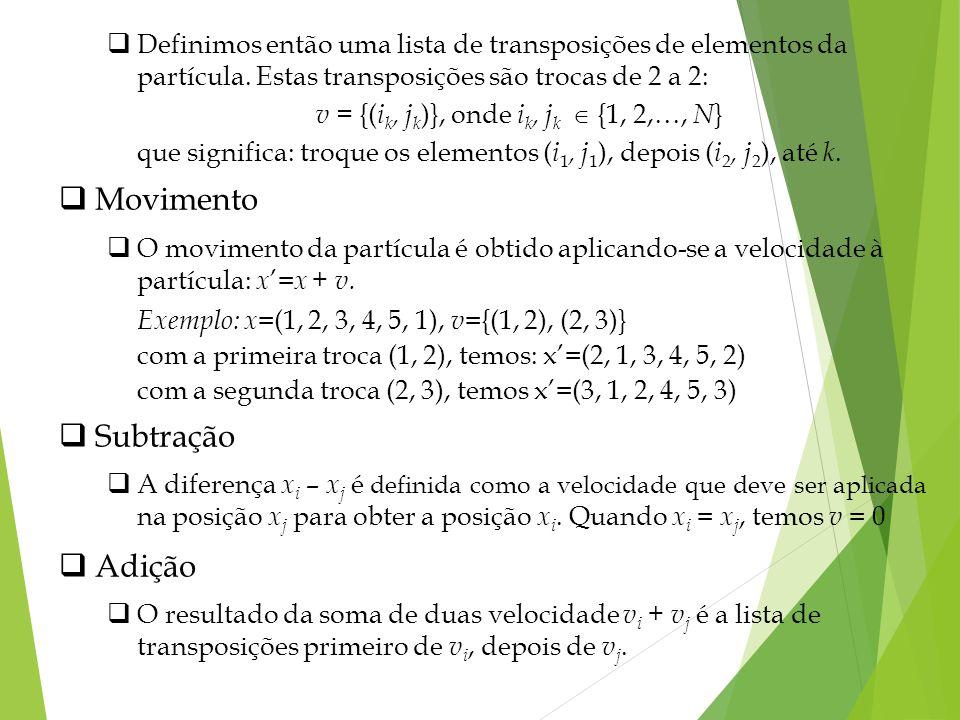 Definimos então uma lista de transposições de elementos da partícula. Estas transposições são trocas de 2 a 2: v = {( i k, j k )}, onde i k, j k {1, 2