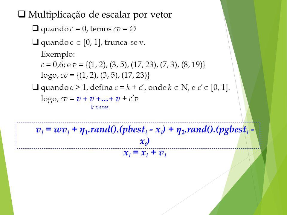 Multiplicação de escalar por vetor quando c = 0, temos cv = quando c [0, 1], trunca-se v. Exemplo: c = 0,6; e v = {(1, 2), (3, 5), (17, 23), (7, 3), (