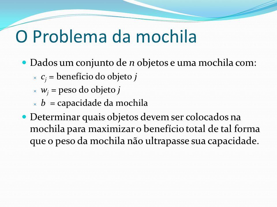 O Problema da mochila Dados um conjunto de n objetos e uma mochila com: c j = benefício do objeto j w j = peso do objeto j b = capacidade da mochila D