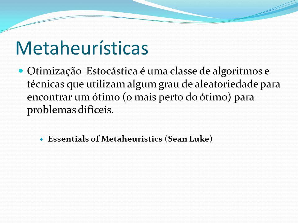 Metaheurísticas Iterativamente melhorar um conjunto de soluções Pouco conhecimento do problema Precisa poder distinguir boas soluções Geralmente encontra boas soluções possivelmente não o ótimo Adaptáveis : parâmetros ajustáveis