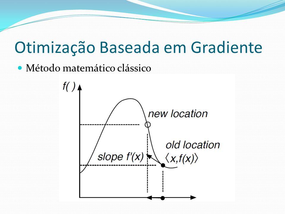 Similar a gradiente descendente sem derivadas Algoritmo Hill-Climbing 1: S Solução Inicial; Procedimento de Inicialização 2: Repita 3: R Tweak(Copy(S)) ; Procedimento de Modificação 4: Se Qualidade(R) > Qualidade(S) Então 5: S R 6: Ate S seja a solução ideal ou limite de tempo 7: retorne S