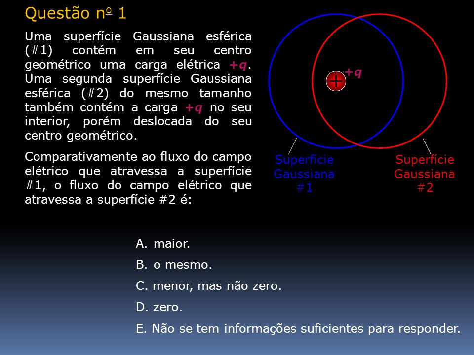 Questão n o 1 Uma superfície Gaussiana esférica (#1) contém em seu centro geométrico uma carga elétrica +q. Uma segunda superfície Gaussiana esférica