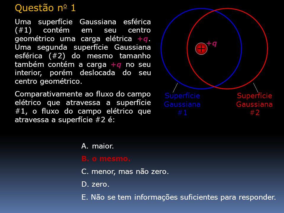 A.maior. B.o mesmo. C. menor, mas não zero. D. zero. E. Não se tem informações suficientes para responder. +q+q Superfície Gaussiana #1 Superfície Gau