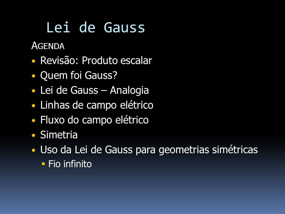 Lei de Gauss A GENDA Revisão: Produto escalar Quem foi Gauss? Lei de Gauss – Analogia Linhas de campo elétrico Fluxo do campo elétrico Simetria Uso da