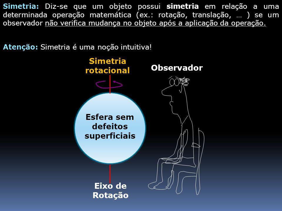 Simetria: Diz-se que um objeto possui simetria em relação a uma determinada operação matemática (ex.: rotação, translação, … ) se um observador não ve