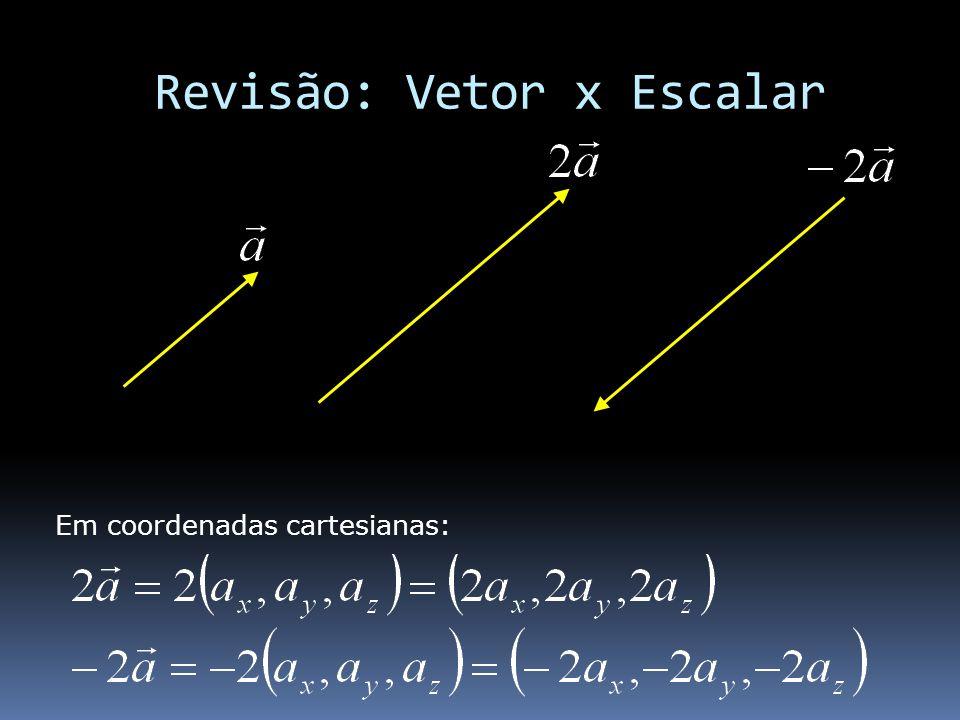 Revisão: Vetor x Escalar Em coordenadas cartesianas: