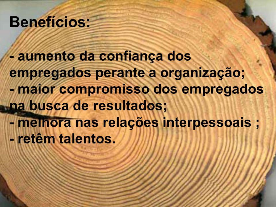 Benefícios: - aumento da confiança dos empregados perante a organização; - maior compromisso dos empregados na busca de resultados; - melhora nas rela