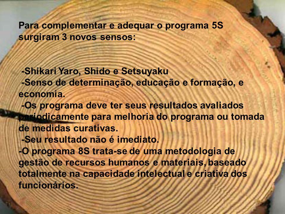 Para complementar e adequar o programa 5S surgiram 3 novos sensos: -Shikari Yaro, Shido e Setsuyaku -Senso de determinação, educação e formação, e eco