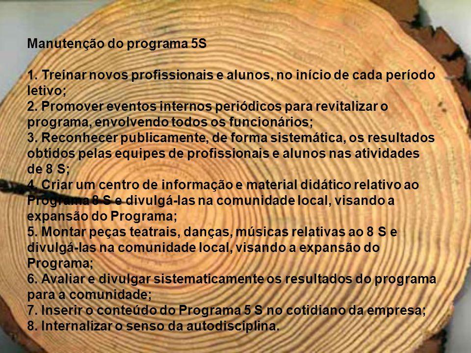 Manutenção do programa 5S 1. Treinar novos profissionais e alunos, no início de cada período letivo; 2. Promover eventos internos periódicos para revi