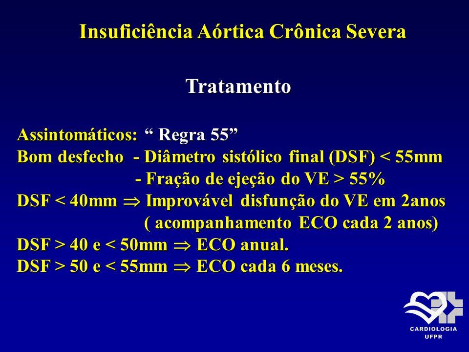 Insuficiência Aórtica Crônica Severa Tratamento Tratamento Assintomáticos: Regra 55 Bom desfecho - Diâmetro sistólico final (DSF) < 55mm - Fração de e