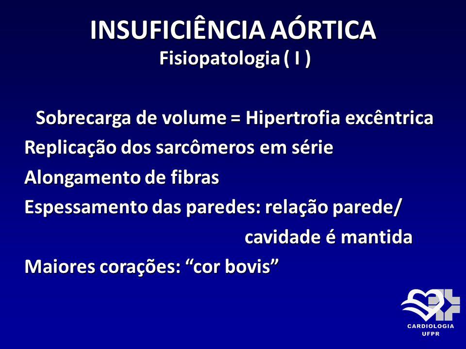 INSUFICIÊNCIA AÓRTICA Fisiopatologia ( I ) Sobrecarga de volume = Hipertrofia excêntrica Replicação dos sarcômeros em série Alongamento de fibras Espe