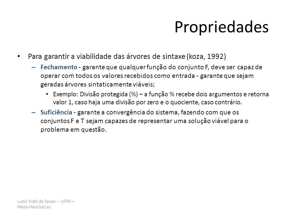 Luzia Vidal de Souza – UFPR – Meta-Heurísticas Propriedades Para garantir a viabilidade das árvores de sintaxe (koza, 1992) – Fechamento - garante que