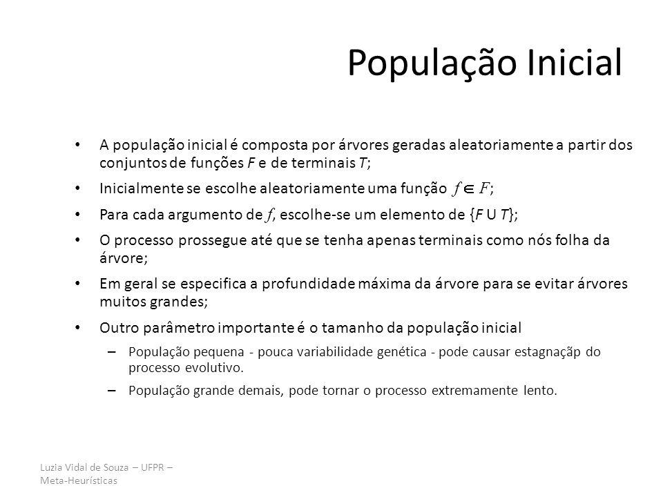 Luzia Vidal de Souza – UFPR – Meta-Heurísticas População Inicial A população inicial é composta por árvores geradas aleatoriamente a partir dos conjun