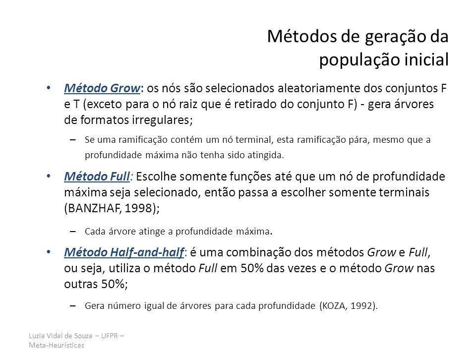 Luzia Vidal de Souza – UFPR – Meta-Heurísticas Métodos de geração da população inicial Método Grow: os nós são selecionados aleatoriamente dos conjuntos F e T (exceto para o nó raiz que é retirado do conjunto F) - gera árvores de formatos irregulares; – Se uma ramificação contém um nó terminal, esta ramificação pára, mesmo que a profundidade máxima não tenha sido atingida.