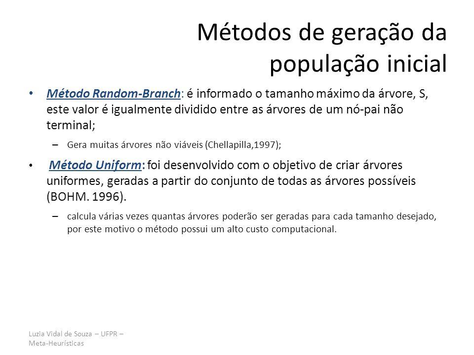 Luzia Vidal de Souza – UFPR – Meta-Heurísticas Método Random-Branch: é informado o tamanho máximo da árvore, S, este valor é igualmente dividido entre