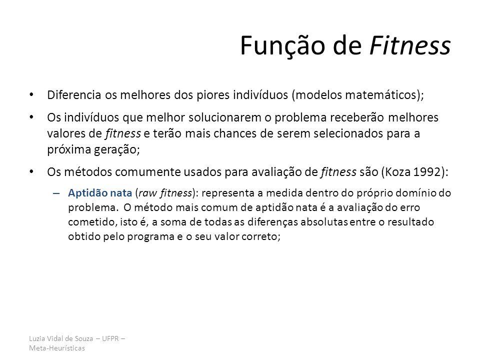Luzia Vidal de Souza – UFPR – Meta-Heurísticas Função de Fitness Diferencia os melhores dos piores indivíduos (modelos matemáticos); Os indivíduos que