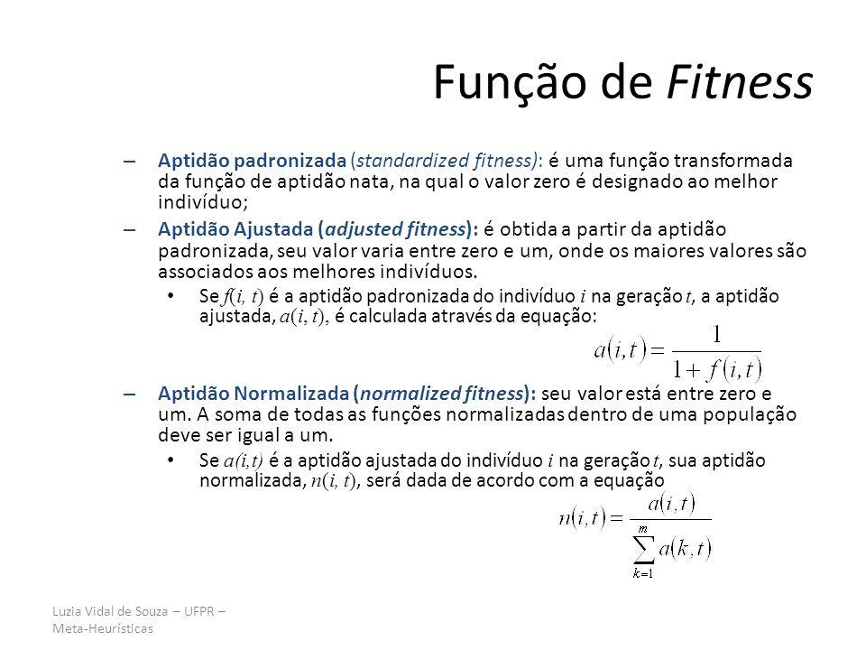 Luzia Vidal de Souza – UFPR – Meta-Heurísticas Função de Fitness – Aptidão padronizada (standardized fitness): é uma função transformada da função de