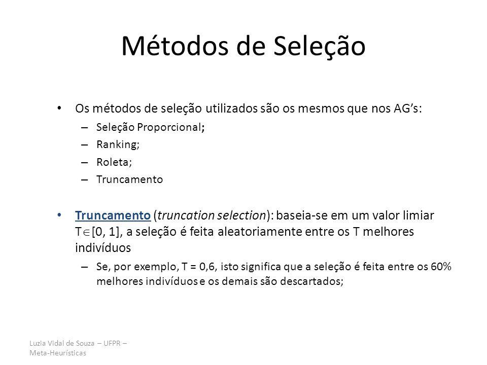 Luzia Vidal de Souza – UFPR – Meta-Heurísticas Métodos de Seleção Os métodos de seleção utilizados são os mesmos que nos AGs: – Seleção Proporcional;