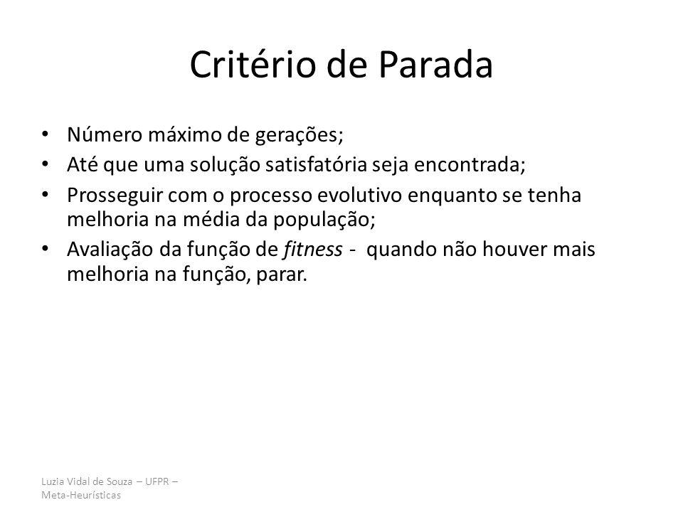 Luzia Vidal de Souza – UFPR – Meta-Heurísticas Critério de Parada Número máximo de gerações; Até que uma solução satisfatória seja encontrada; Prosseg