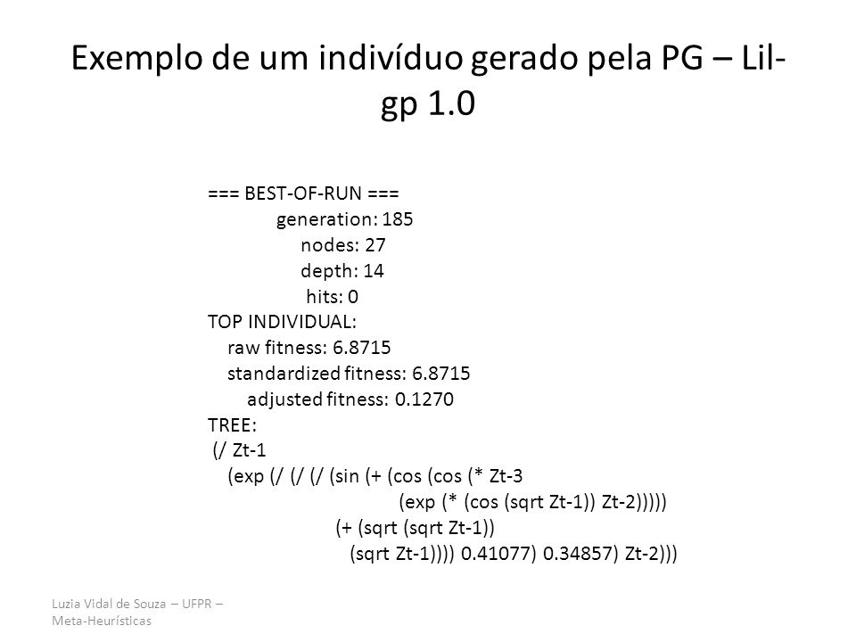 Luzia Vidal de Souza – UFPR – Meta-Heurísticas Exemplo de um indivíduo gerado pela PG – Lil- gp 1.0 === BEST-OF-RUN === generation: 185 nodes: 27 dept
