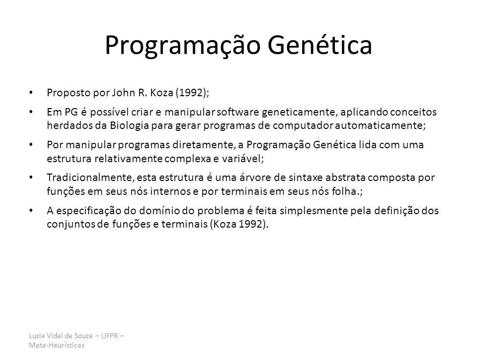 Luzia Vidal de Souza – UFPR – Meta-Heurísticas Principais diferenças entre AG e PG CaracterísticaAGPG Estrutura do indivíduo String (vetor) Árvores de sintaxe Tamanho do indivíduo FixoVariável Forma de representação Os indivíduos possuem representação fixa Os nós são funções ou terminais