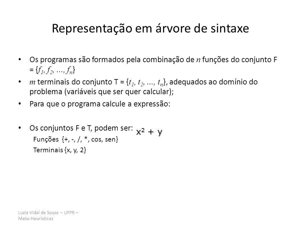 Luzia Vidal de Souza – UFPR – Meta-Heurísticas Representação em árvore de sintaxe Os programas são formados pela combinação de n funções do conjunto F = { f 1, f 2,..., f n } m terminais do conjunto T = { t 1, t 2,..., t n }, adequados ao domínio do problema (variáveis que ser quer calcular); Para que o programa calcule a expressão: Os conjuntos F e T, podem ser: Funções {+, -, /, *, cos, sen} Terminais {x, y, 2} x 2 + y