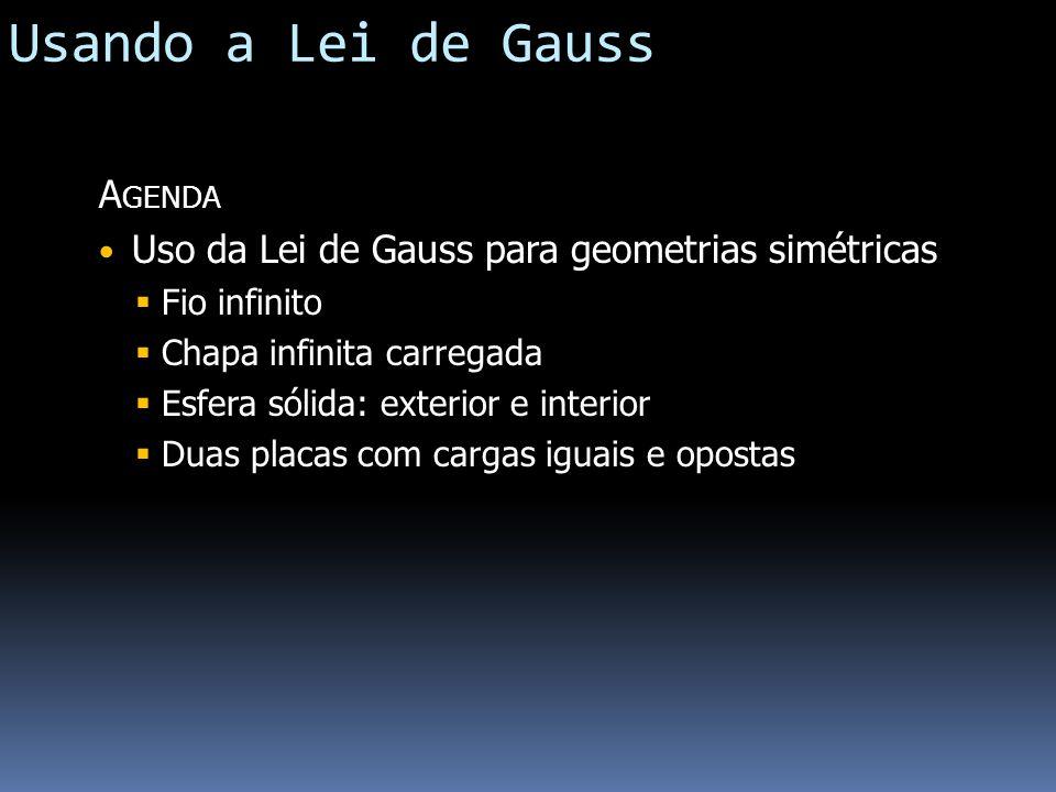 Usando a Lei de Gauss A GENDA Uso da Lei de Gauss para geometrias simétricas Fio infinito Chapa infinita carregada Esfera sólida: exterior e interior