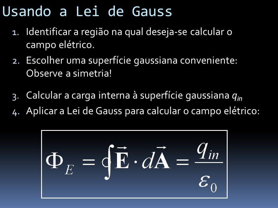 Usando a Lei de Gauss 1. Identificar a região na qual deseja-se calcular o campo elétrico. 2. Escolher uma superfície gaussiana conveniente: Observe a