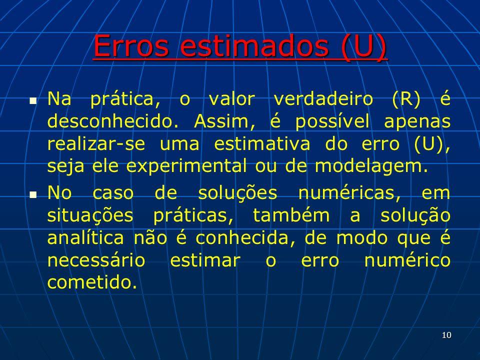 Erros estimados (U) Na prática, o valor verdadeiro (R) é desconhecido. Assim, é possível apenas realizar-se uma estimativa do erro (U), seja ele exper