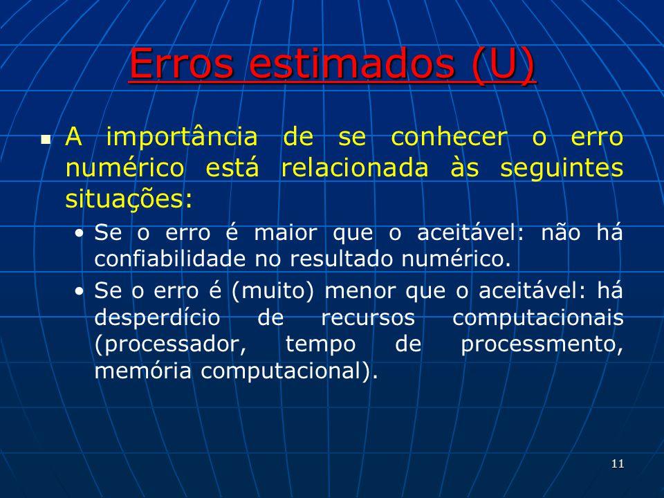 Erros estimados (U) A importância de se conhecer o erro numérico está relacionada às seguintes situações: Se o erro é maior que o aceitável: não há co