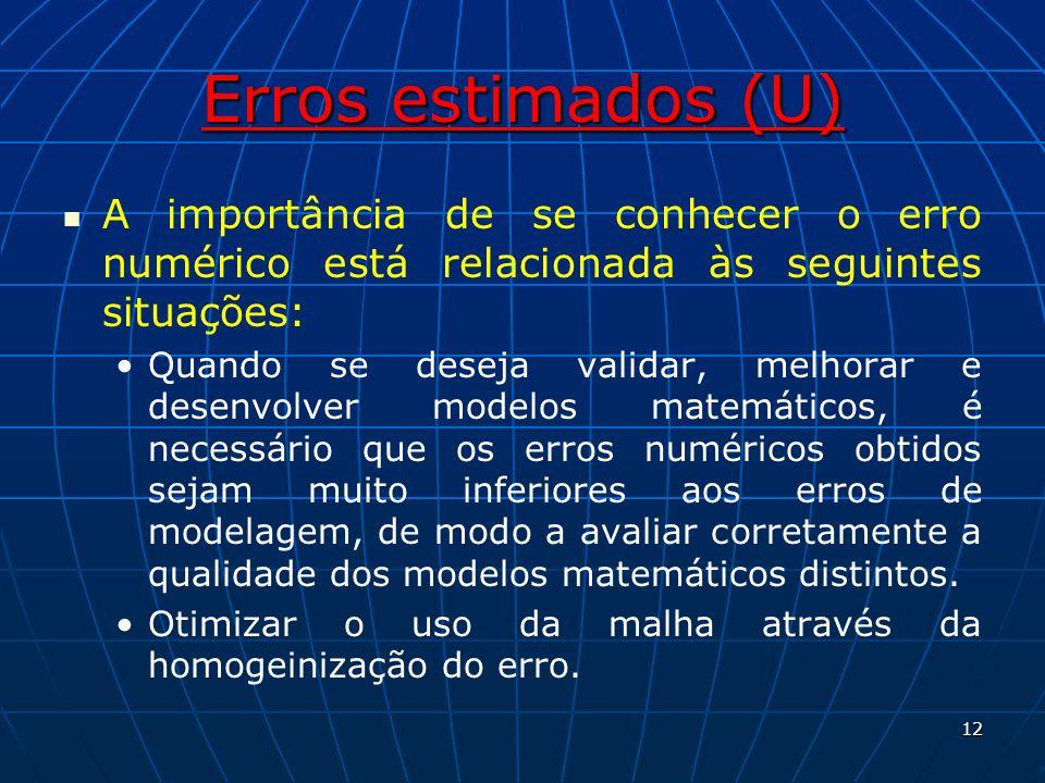 Erros estimados (U) A importância de se conhecer o erro numérico está relacionada às seguintes situações: Quando se deseja validar, melhorar e desenvo