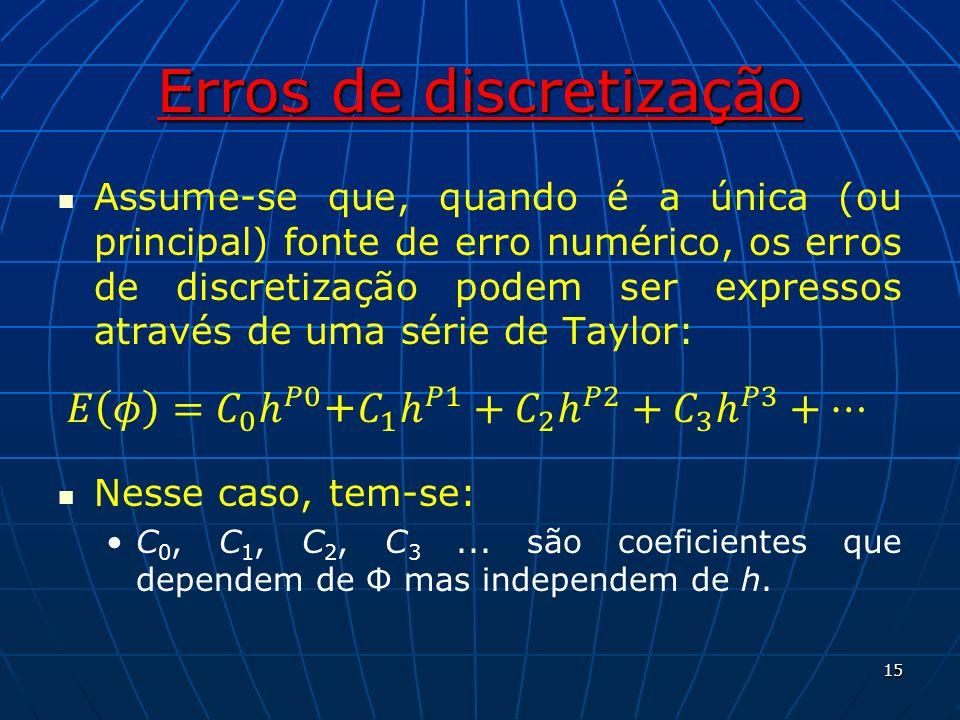 Erros de discretização Assume-se que, quando é a única (ou principal) fonte de erro numérico, os erros de discretização podem ser expressos através de