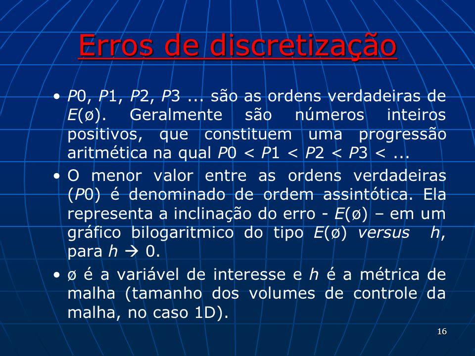 Erros de discretização P0, P1, P2, P3... são as ordens verdadeiras de E(ø). Geralmente são números inteiros positivos, que constituem uma progressão a