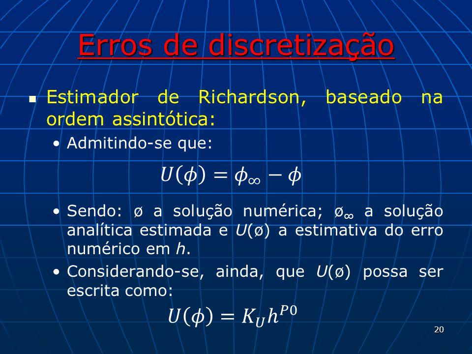 Erros de discretização Estimador de Richardson, baseado na ordem assintótica: Admitindo-se que: Sendo: ø a solução numérica; ø a solução analítica est