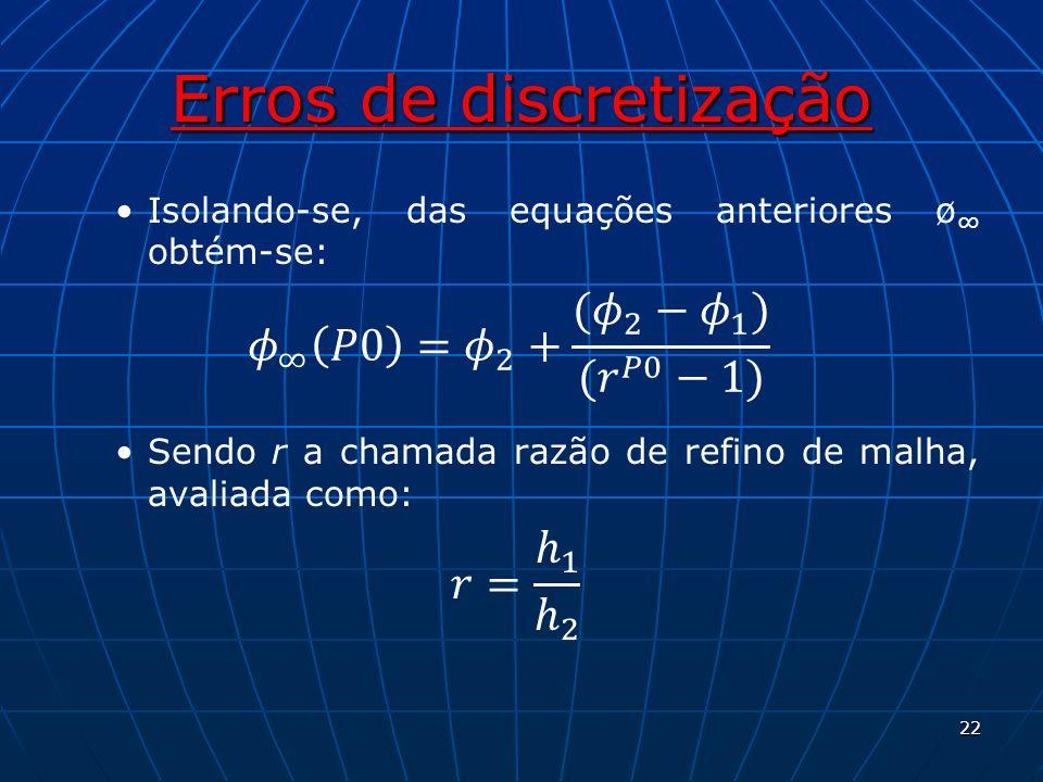 Erros de discretização Isolando-se, das equações anteriores ø obtém-se: Sendo r a chamada razão de refino de malha, avaliada como: 22
