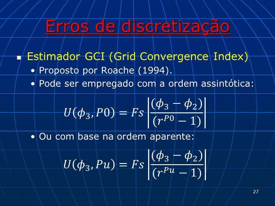 Erros de discretização Estimador GCI (Grid Convergence Index) Proposto por Roache (1994). Pode ser empregado com a ordem assintótica: Ou com base na o
