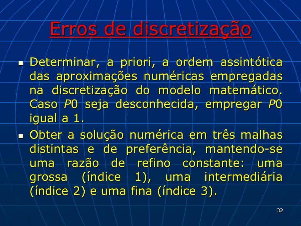 Erros de discretização Determinar, a priori, a ordem assintótica das aproximações numéricas empregadas na discretização do modelo matemático. Caso P0