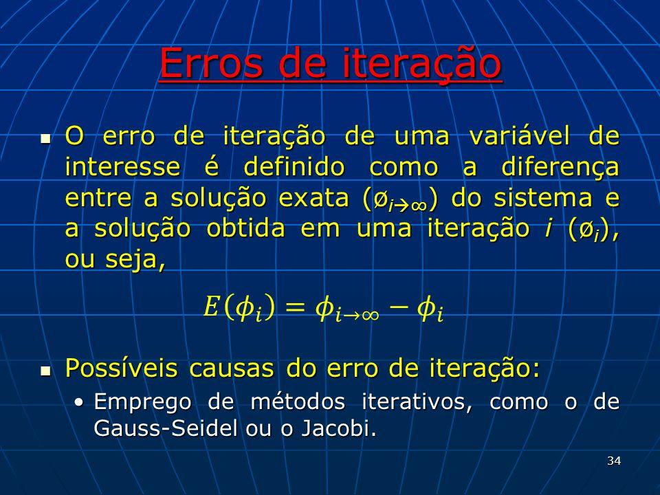Erros de iteração O erro de iteração de uma variável de interesse é definido como a diferença entre a solução exata (ø i ) do sistema e a solução obti