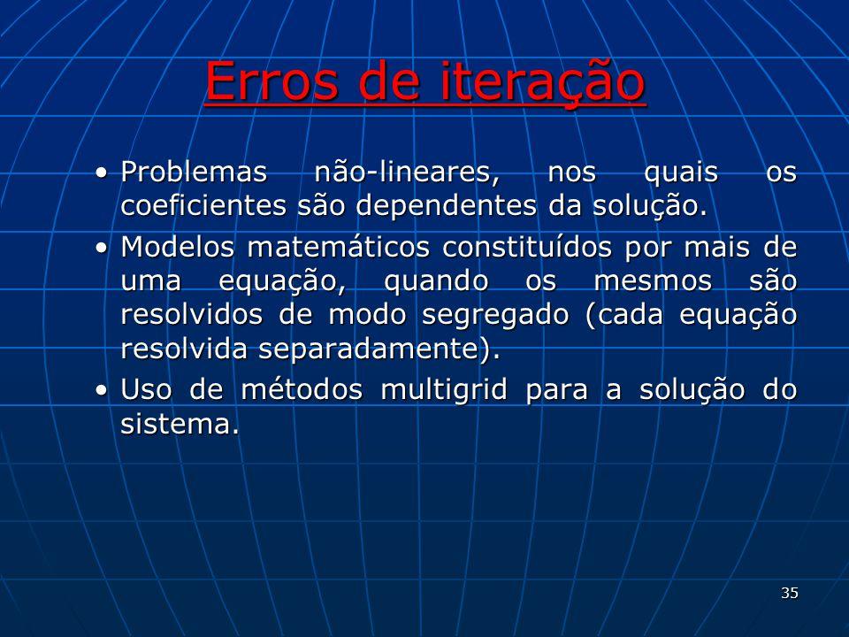 Erros de iteração Problemas não-lineares, nos quais os coeficientes são dependentes da solução.Problemas não-lineares, nos quais os coeficientes são d