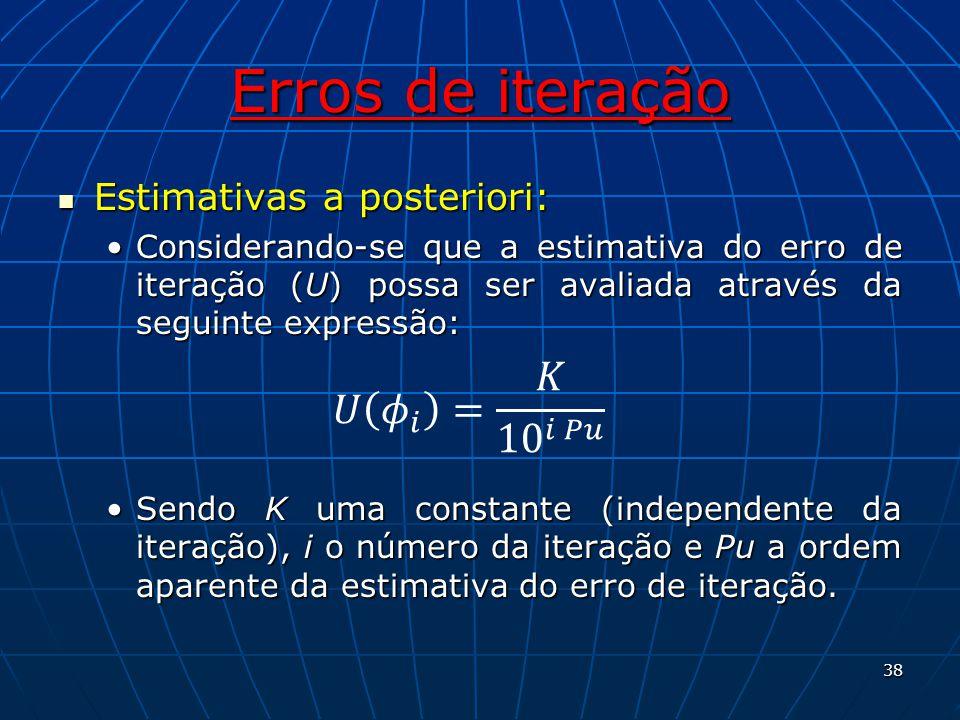 Erros de iteração Estimativas a posteriori: Estimativas a posteriori: Considerando-se que a estimativa do erro de iteração (U) possa ser avaliada atra